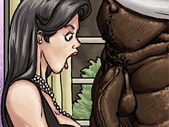 Her tiny hands couldn't even reach all the way around his nasty big black cock - Produce Man by Illustrated interracial