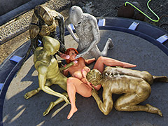 What a cute creature and I want to fuck you in all the holes - First contact 11 Alien Gangbang by Golden Master