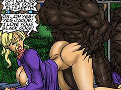 Elizabeth feels her pussy stretches to accomodate his massive black cock - Manza by Illustrated interracial 2016