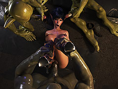 Gangbanged by rough mutants - Dungeon origins 2 by X3Z